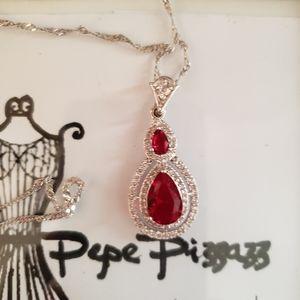 18kgf GORGEOUS Formal ruby cz necklace